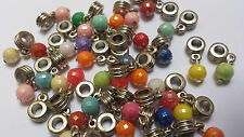 15 Mixed Disco Ball Dangle Bead Fit Charm Bracelet 8mm