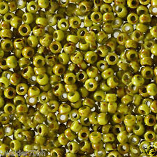10 grams Toho Round Seed Beads 8/0 - #Y310 - Sour Apple Picasso HYBRID
