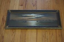 VINTAGE ORIGINAL PAINTING SAIL BOATS ART DECO FRAME OCEAN NAUTICAL