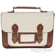 Equilibrium - A4 SATCHEL HAND SHOULDER BAG - Cream & Tan 2 Tone Faux Leather