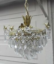 VINTAGE FRENCH STYLE 3 TIER ORNATE CRYSTAL CHANDELIER CEILING LIGHT