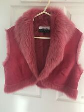 Jaeger 100% Sheep Skin Pink Body Warmer. Size 16 Made In U.K.