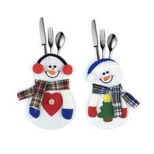 4x Noël Sac à Vaisselle Argenterie Forme Bonhomme de Neige Fête Décoration Dîner