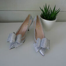 KATE SPADE Silver SHIMMER JACKIE HEELS 5.5 Shoes BOW Wedding BRIDAL Sold Out NEW