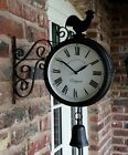 Outdoor Garden Station wall Clock double Sided, cockerel and bell 20cm bracket