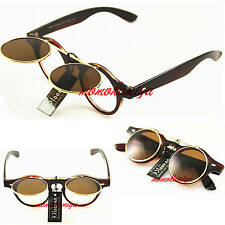 STEAMPUNK BROWN GOGGLES FLIP UP SUNGLASSES TOP QUALITY RETRO VINTAGE MENS WOMENS