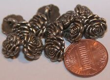 "12 Small Antiqued Silver Tone Metal Buttons Flower Rose 7/16"" 11mm # 5885"