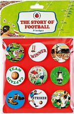 """1x Pack of 9 Ladybird """"History Of Football"""" Child Button Badges."""