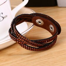 LOVELY LEATHER Slake BRACELET MADE WITH SWAROVSKI CRYSTALS - BROWN WOVEN