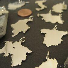 1 Landkarte Anhänger Ihrer Wahl in 925er Silber, Handarbeit, NEU