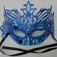 Masquerade eye masks Blue with sparkling Glitter venetian carnival party