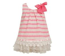 Bonnie Jean Girls Neon Pink Ricrac Pattern Knit Lace Spring Summer Dress 24M New