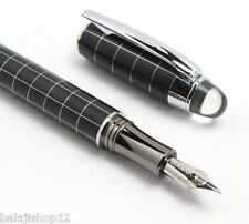 Baoer 79 Starwalker Silver Grid Pattern Medium Nib Fountain Pen