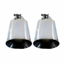 2x Universal Dual Oval Stainless Steel Exhaust Tip Tips 3 Inch Inner Diameter