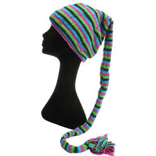 WOOL KNIT TAIL HAT HIPPY FESTIVAL SLOUCH BEANIE FLEECE LINED Blue, Green & Pink