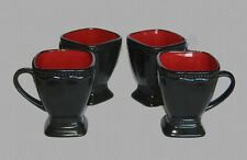 4 Large Pedestal Square Hobnail Roscher Beaded Black & Red Mugs Very Nice NEW