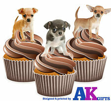 12 X Cute Chihuahua Puppy Puppies Mix EDIBLE WAFER CUP CAKE TOPPERS STAND UPS