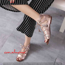 ZARA NEW GOLD METALLIC ROMAN LACE UP FLAT SANDALS SIZE 5