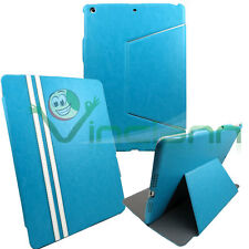 Custodia SLIM STAND Sporting eco pelle per iPad Air 5 AZZURRA cover tablet nuova
