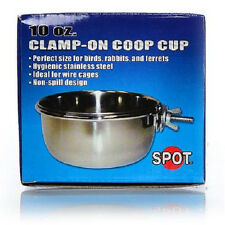 ETHICAL SPOT STEEL COOP CUP WITH CLAMP 10 OZ DOG CAT BIRD FREE SHIP TO THE USA