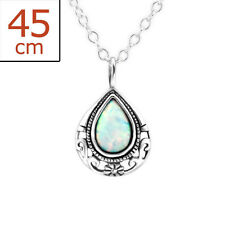 925 Sterling Silver Simulated Opal Teardrop Pendant Necklace Girls Women