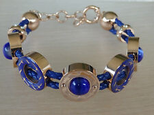 rose gold stainless blue embedded stone rope adjustable bracelet and earrings
