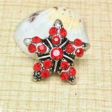 NEW Red Rhinestone Stars Charm Chunk Snap Button fit for Noosa Bracelet IOP101