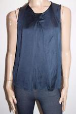 MANGO Designer Navy Pleat Front Sleeveless Top Size M BNWT #SK80