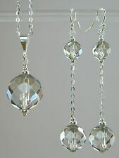 Art Deco Faceted GREY Lead Glass Crystal Beads & 925 Silver Necklace & Earrings