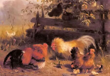 Oil painting carl jutz - chickens Cock fighting with chicks in landscape canvas