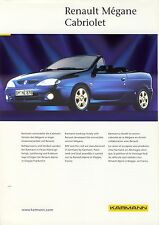 Karmann Renault Megane Cabriolet 1996 catalogue brochure