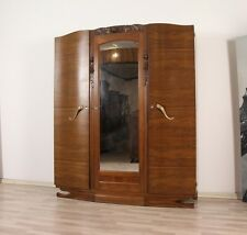 antik 1930 Art Deco Kleiderschrank Spiegelschrank Walnuß Frankreich Nußbaum