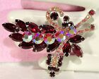 Vtg JULIANA *BOOK PIECE* Red AB Rhinestone FLORAL Brooch PIN
