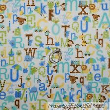 BonEful Fabric FQ Flannel Cotton Quilt Blue Baby Boy Dog Letter Alphabet Animal