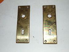 2 Vintage Heavy Brass  Skeleton Key Door Plates