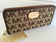 MICHAEL KORS BEIGE & MOCHA MONOGRAM CONTINENTAL ZIP AROUND PURSE/WALLET BNWT