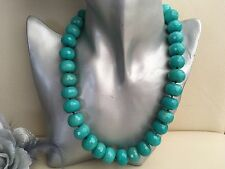 "18"" Chunky Turquoise Green Faceted Jade Necklace 925 Silver Hook clasp"