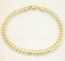 """8.5"""" 5.5mm Mens Solid Curb Cuban Link Bracelet Real 10K Yellow Gold Great Gift"""