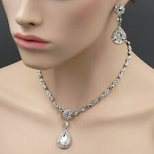 Rhodium Plated Clear Crystal Necklace Pendant Earrings Wedding Jewelry Set 9151