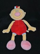 Peluche doudou poupée Billy NATTOU AUBERT rouge rose orange 30 cm TTBE