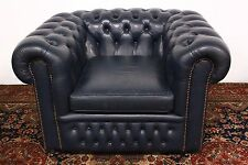 POLTRONA CHESTERFIELD PELLE BLU / INGLESE / BLUE / ARMCHAIR / ORIGINAL / ENGLISH