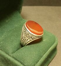 Mens High Quality Vintage 900 Sterling Silver Carnelian Celtic Ring Size R1/2