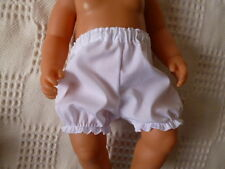 "BJB dolls clothes, White knickers pants fit 18"" baby born doll"