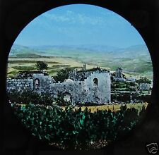 HAND COLOURED Glass Magic lantern slide SAMARIA C1890 ISRAEL L66