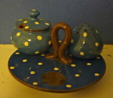 Watcombe Pottery Devon Blue on Brown with White Dots Tray with Some Pieces