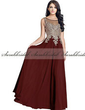 Women Applique Long Chiffon Ball Prom Dress Bridesmaid Formal Evening Party Gown