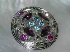 Vintage Sarah Cov Signed Purple Blue Pink Rhinestone Floral Silvertone Domed