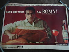 Poster Roma Wine and Saturday Evening Post Advertising Large Store Display