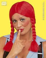Red Plait Wig Country Bumpkin Rag Doll Bunches Farmers Wife Fancy Dress