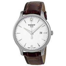 Tissot T Classic Tradition Silver Dial Brown Leather Mens Watch T0636101603700